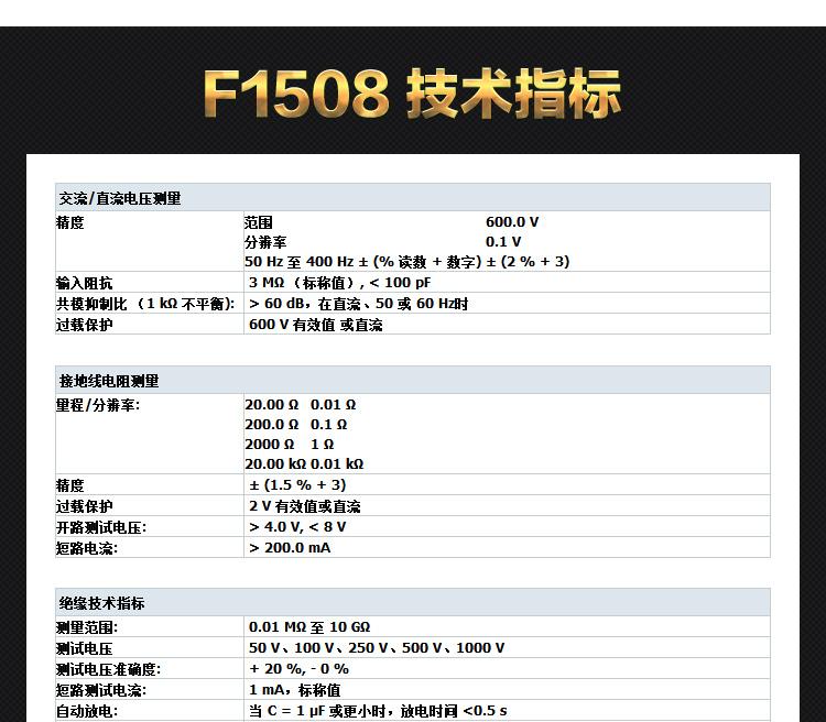 福禄克F1508 手持式绝缘电阻测试仪